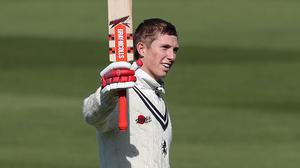Kent's Zak Crawley reaches his 100 during day one of the Specsavers County Championship, Division One match at Edgbaston, Birmingham.