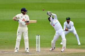 Pakistan's Mohammad Rizwan caught out Ben Stokes for nine in the second innings (Dan Mullan/PA)