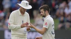 Mark Wood, right, is delighted to be back playing Test cricket (Michael Sheehan/AP)