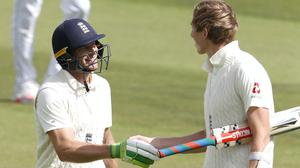 England's Jos Buttler (left) and Zak Crawley celebrate (Alastair Grant/PA)