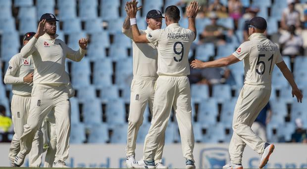 James Anderson completed a five-wicket haul (Themba Hadebe/AP)