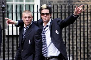 Andrew Flintoff, left, and Kevin Pietersen were instrumental for England (Mark Lees/PA)