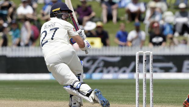 England's Rory Burns bats during play on day three of the second cricket Test between against New Zealand (Mark Baker/AP)