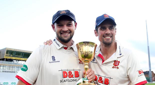Essex's Nick Browne and Alastair Cook celebrate (Steven Paston/PA)