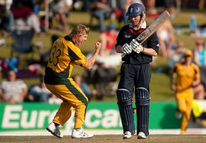 Eoin Morgan was dismissed by Australia's Shane Watson during the 2009 semi-final (Gareth Copley/PA)