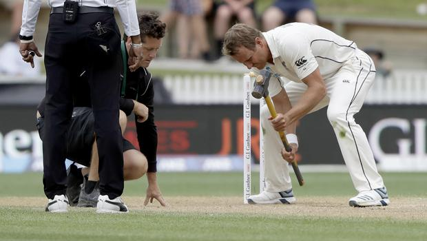 Neil Wagner tended to the pitch himself (Mark Baker/AP)