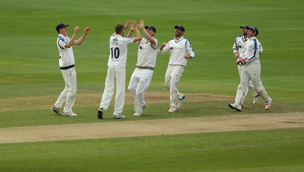 Ben Coad, centre, was amongst the wickets as Yorkshire beat Essex
