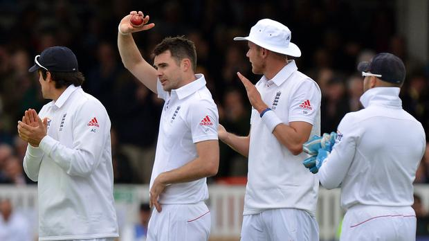 James Anderson, second left, celebrates his 300th Test wicket (Anthony Devlin/PA)