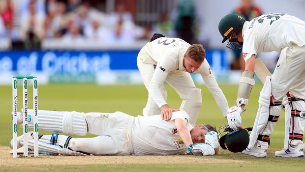 Steve Smith was felled by a bouncer from Jofra Archer in the second Ashes Test (Mike Egerton/PA)