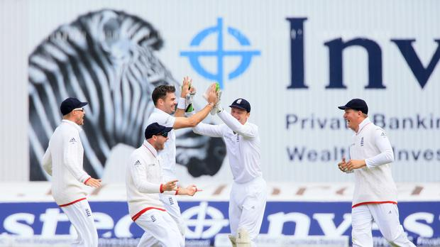 James Anderson claiming his 400th Test wicket (John Walton/PA)
