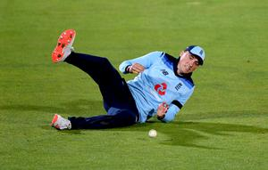 England's Tom Banton drops a catch from Ireland's Harry Tector during the tense closing stages (Mike Hewitt/PA)