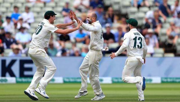 Hampshire have signed Nathan Lyon, centre, on a red-ball only deal for this season (Mike Egerton/PA)