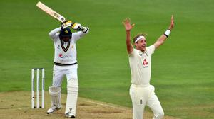 England's Stuart Broad appeals unsuccessfully for the wicket of Pakistan's Mohammad Abbas (Glyn Kirk/PA)