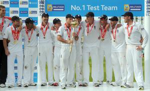 England got their hands on the Test mace after whitewashing India (Anthony Devlin/PA)