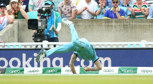 England's Ben Stokes takes his amazing catch (Nigel French/PA)