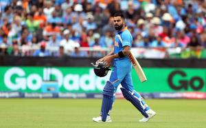 Even though the clouds lifted, the gloom deepened for captain Virat Kohli (pictured after being dismissed for a single) and India, who fell to five for three on their way to being beaten by 18 runs (David Davies/PA)