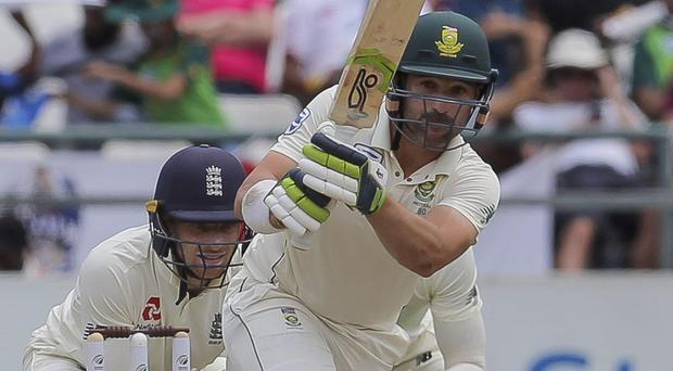Openers Dean Elgar, pictured, and Pieter Malan remain at the crease for South Africa (Halden Krog/AP)