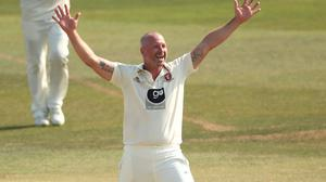 Kent's Darren Stevens celebrated a five-wicket against Sussex in Canterbury (Adam Davy/PA) RESTRICTIONS: Editorial use only. No commercial use without prior written consent of the ECB. Still image use only. No moving images to emulate broadcast. No removing or obscuring of sponsor logos.