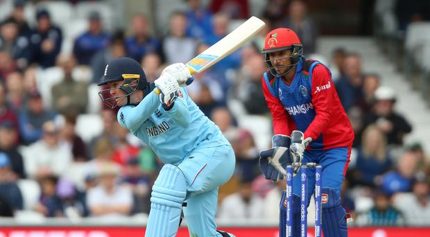 Jason Roy smashed an unbeaten 89 in a comfortable England win over Afghanistan (Nigel French/PA)