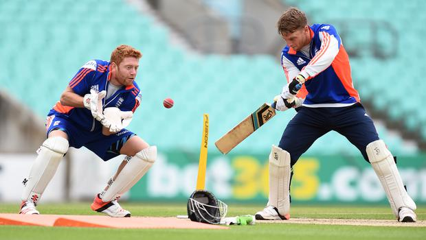 England's Jonny Bairstow, left, has stepped in for ill team-mate Jos Buttler (Andrew Matthews/PA)