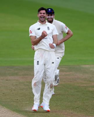 England's James Anderson (front) celebrates taking the wicket of Abid Ali (Mike Hewitt/PA)