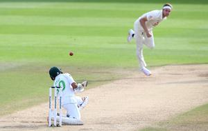Pakistan's Abid Ali avoids a delivery from England's Stuart Broad (Mike Hewitt/PA)