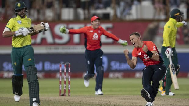 Tom Curran celebrates England's thrilling victory (Themba Hadebe/AP).