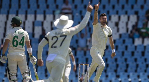 England's bowler James Anderson, right, had early cheer on his150th Test appearance (AP)