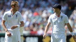 England's Stuart Broad, left, has joined James Anderson in the 500 club (Anthony Devlin/PA)