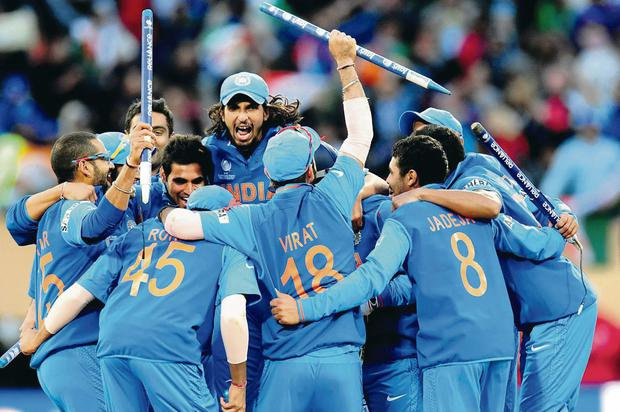 India celebrate their win over England in the ICC Champions Trophy final