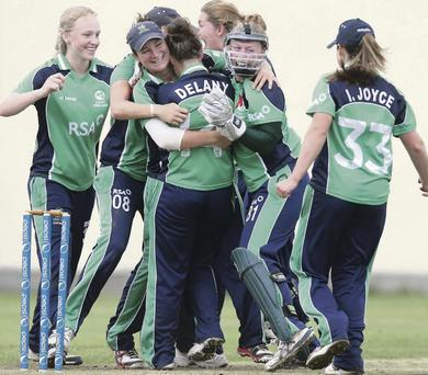 We've done it: Ireland's women celebrate at their winning finish