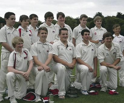 Golden Graham: Waringstown celebrate their Graham Cup success over CIYMS at Seapark last week