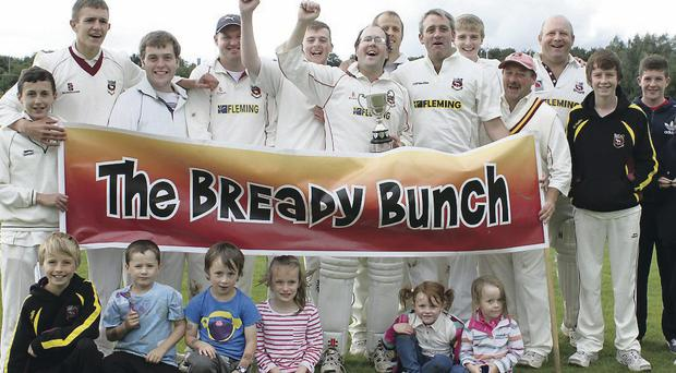 Banner day: Bready IV celebrate their victory over Ardmore in the Qualifying 3 Cup final on Sunday