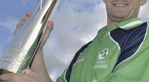 Glory days: Ireland captain William Porterfield with ICC World League Trophy at Stormont