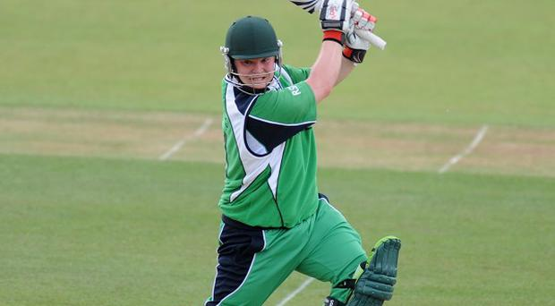 Paul Stirling was eventually dismissed for 65 as Ireland built a formidable first innings total