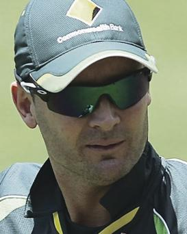 Michael Clarke went over his ankle on Monday