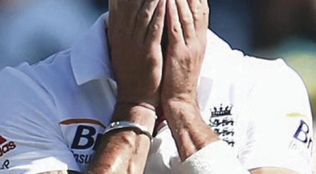 Kevin Pietersen of England rests after falling ill during day one of the Fourth Ashes Test Match between Australia and England at Melbourne Cricket Ground