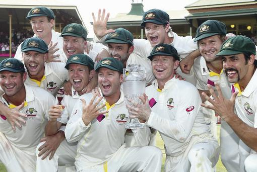 The Australian cricket team celebrate after sealing their 5-0 whitewash success over England