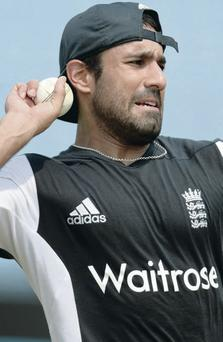 Warming up: Ravi Bopara in the nets in Chittagong
