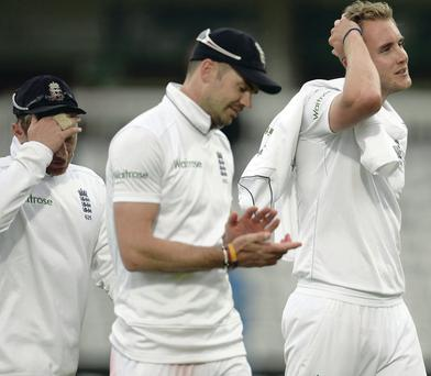 Sick on the draw: England's Ian Bell, James Anderson and Stuart Broad show their disappointment after failing to beat Sri Lanka