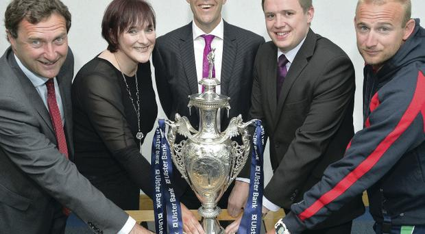 To the four: Pictured at the semi-final draw for the NCU Ulster Bank Challenge Cup are (l-r) Peter McMorran (CSNI), Ann McCullough (CIYMS), Paul Thompson (Ulster Bank), Gareth Rea (Downpatrick) and Simon Johnston (Waringstown)