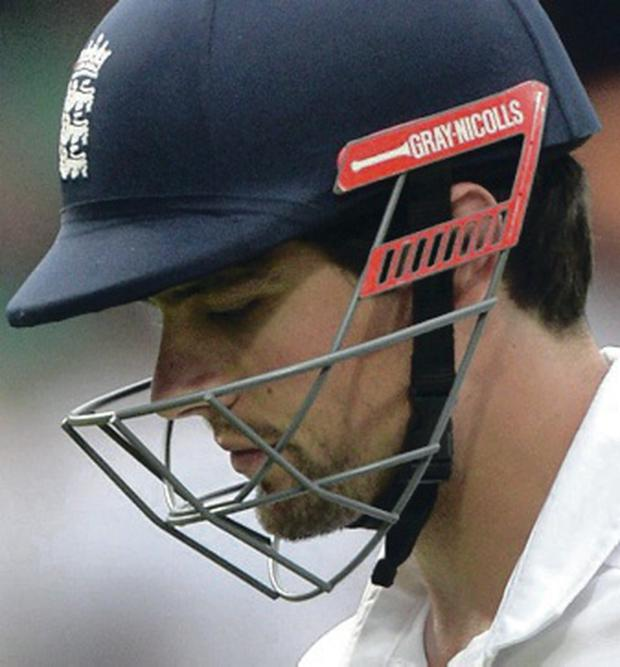 Under pressure: England captain Alastair Cook struggled again