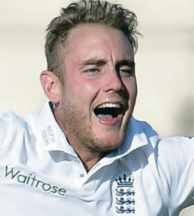 Chipping in: Stuart Broad took three India wickets for 65 runs