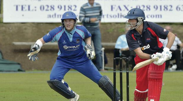 On the attack: Kyle McCallan looks to boost Waringstown's tally yesterday but he was out for 16 runs