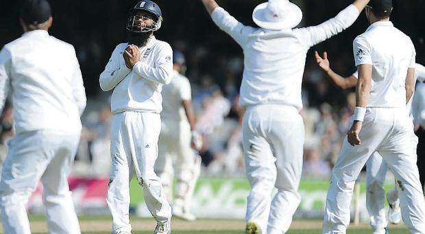 All over: England celebrate as Moeen Ali takes the final catch which completed a 3-1 series victory over India, all out in the fifth Test for 94England's surge to Investec series victory over India is a resounding vindication for captain Alastair Cook