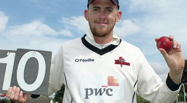 Bowled over: James Cameron-Dow of the Northern Knights celebrates his ten-wicket haul at Eglinton