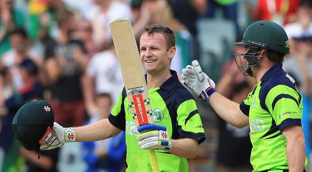 Centurion: Ireland's William Porterfield is all smiles after his century but Pakistan were comfortable winners in Adelaide