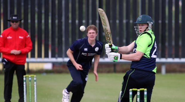 Tough series: Ireland's captain Kevin O'Brien deflects the ball away during the series with Scotland at Bready