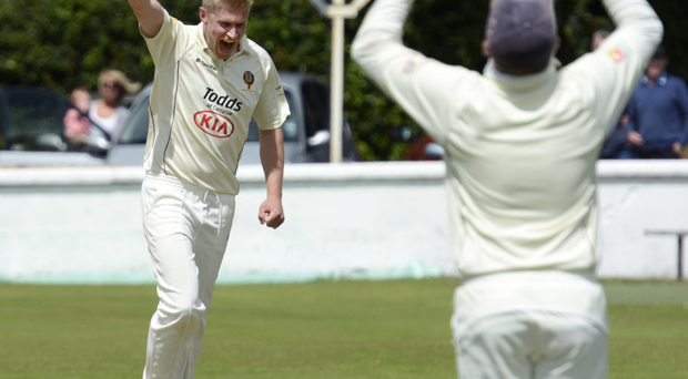 Gotcha: Eglinton's Jonathan Gardiner celebrates after claiming the wicket of Brigade batsman Jonny Robinson