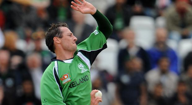 Alex Cusack took three wickets in Ireland's rain-affected match with Oman in Belfast
